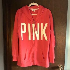 Victoria's Secret PINK Salmon ZIp Up Hoodie - M